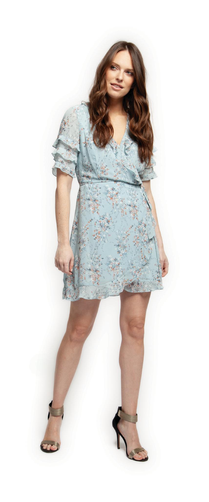 Black Tape Dress S/Slv Wrap Dress w/ Ruffle Detail