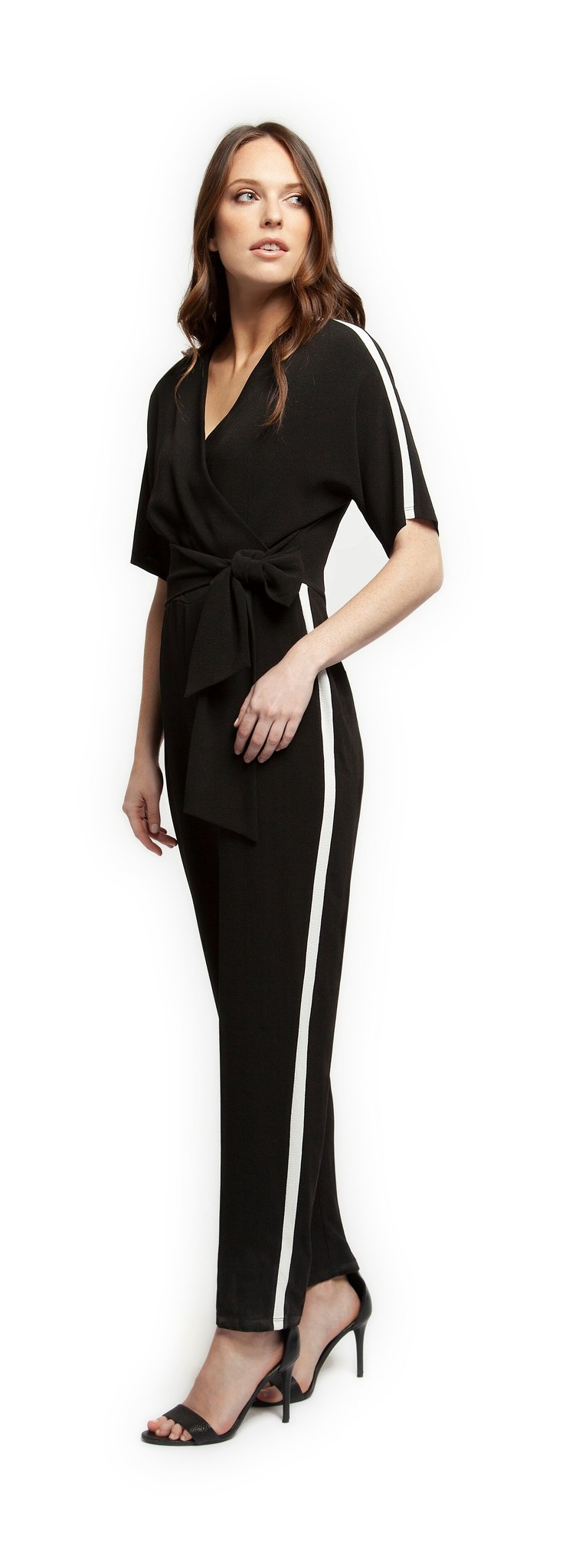 Black Tape Jumpsuit S/Slv V Neck w/ Belt & Athletic Stripe