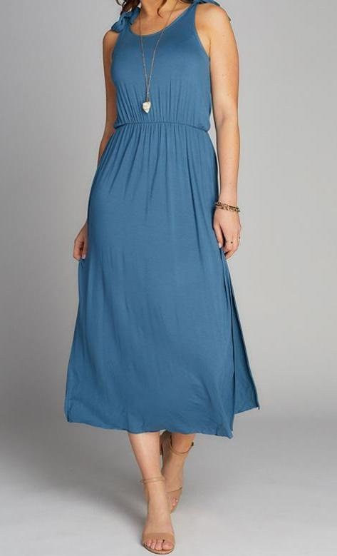 C'est Moi Dress Bamboo Maxi w/ Shoulder Ties and Side Slit