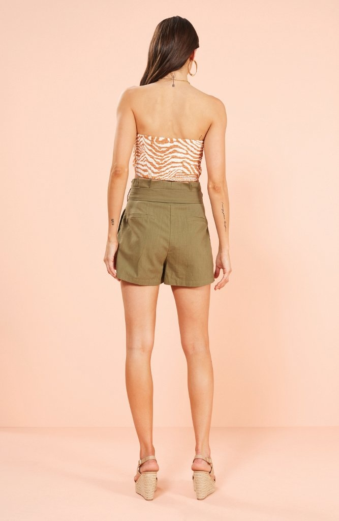 Mink Pink Shorts Linen Paperbag W/ Buttons + Tie