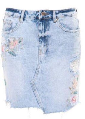DEX Dex Denim Skirt W/ Embroidery