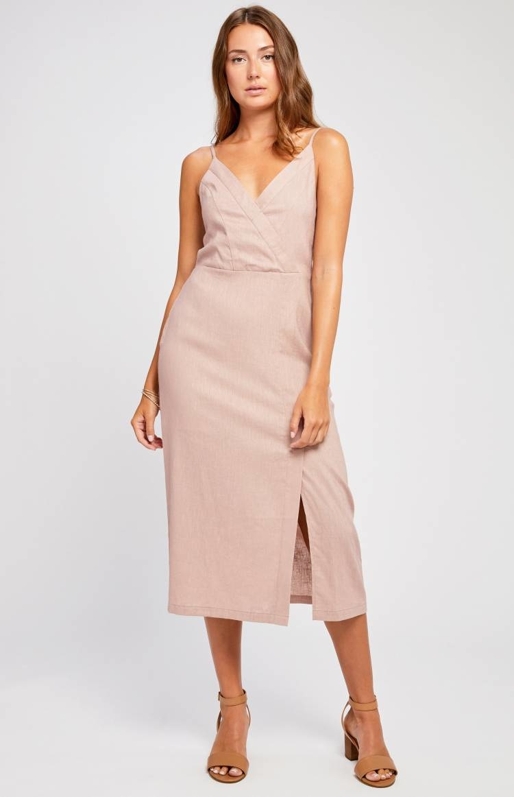 Gentle Fawn Dress Eunice Strappy Midi w/ Crossover Front