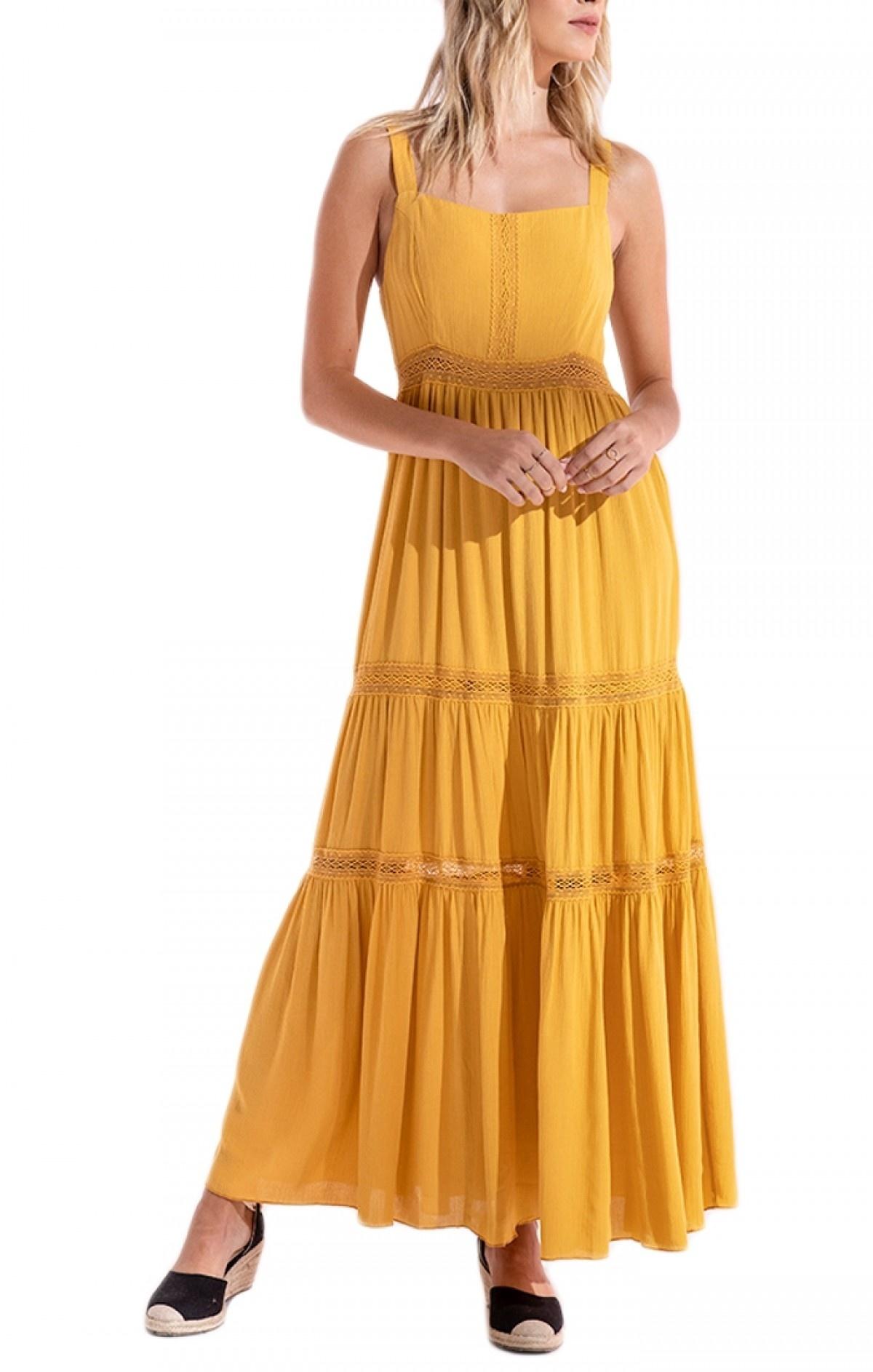 Black Swan Dress Virginia Slv/lss Maxi W/ Crochet Detail