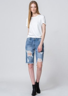 Vervet Denim Biker Shorts Distressed High Rise