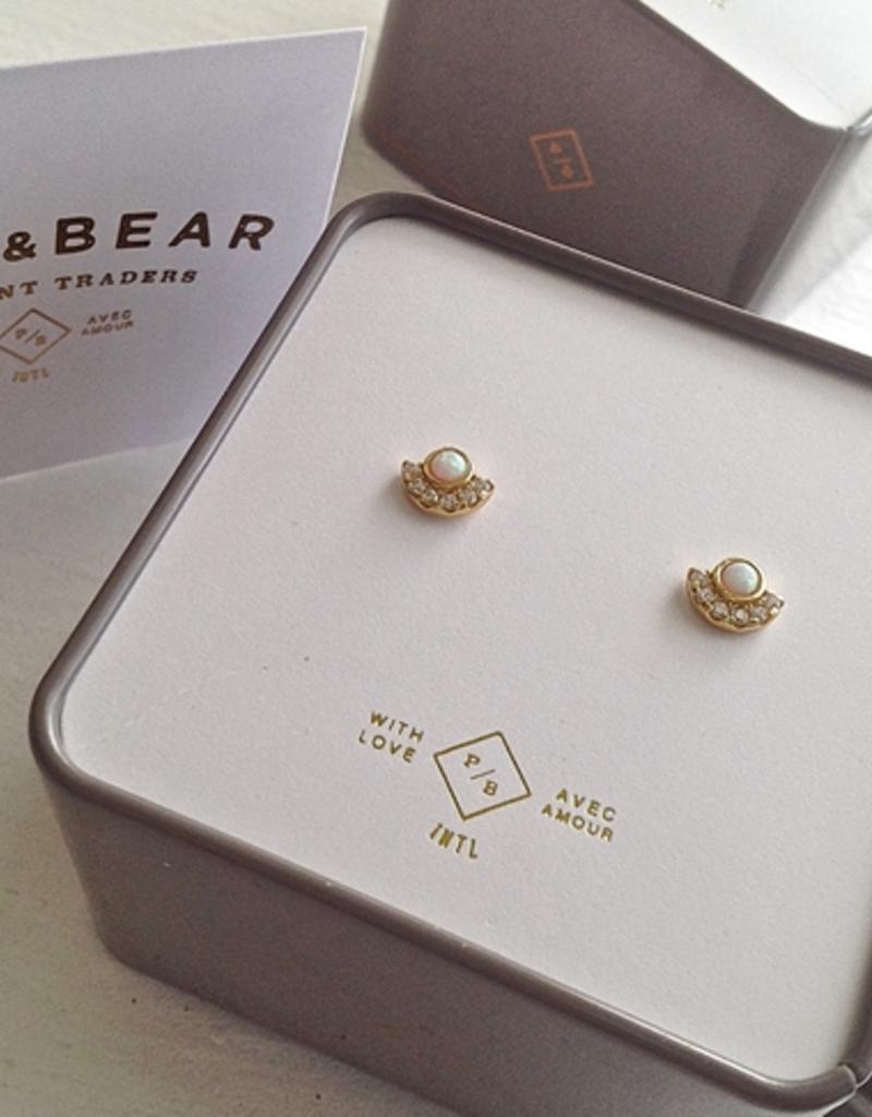 PIKA&BEAR Pika & Bear Earrings 'Lasa' Opal/Rhinestone Stud