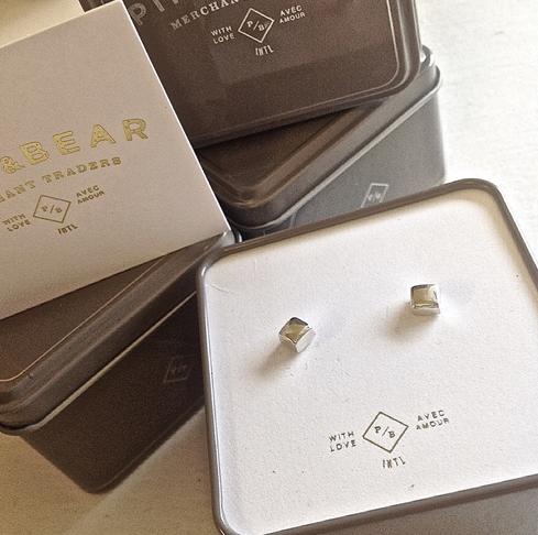 Pika & Bear Earrings 'Chunk' Cube Stud