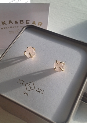 PIKA&BEAR Pika & Bear Earrings 'Vanessa' Raw Crystal Stud
