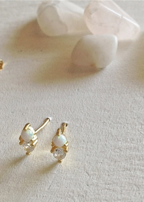 PIKA&BEAR Pika & Bear Earrings 'Binaural' Opal + Rhinestone Stud