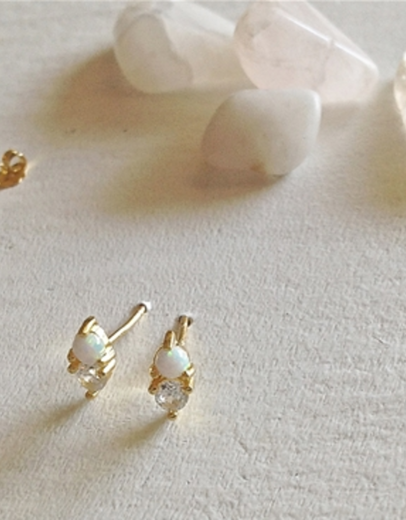 PIKA&BEAR Pika & Bear Earrings 'Binaural' Opal + Rhinestone Stud
