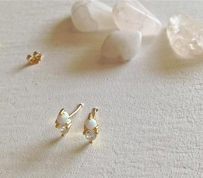 Pika & Bear Earrings 'Binaural' Opal + Rhinestone Stud