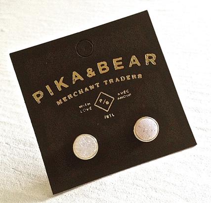 Pika & Bear Earrings 'Zella' Gold Plated Druzy Stud