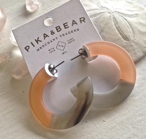 Pika & Bear Earrings 'Mod' 4cm Acetate Hoop