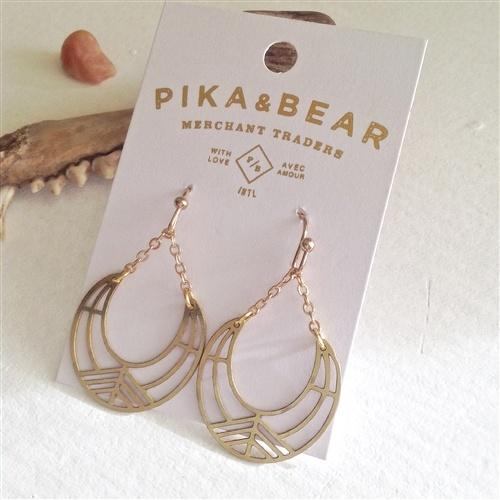 Pika & Bear Drop Earrings 'Nokomis' Geometric Crescent