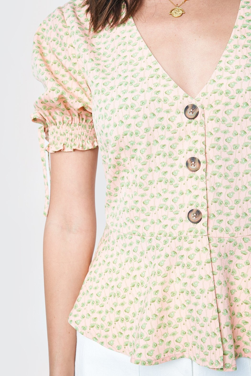 Sugarlips Blouse Femme S/Slv Peplum Style Button Up