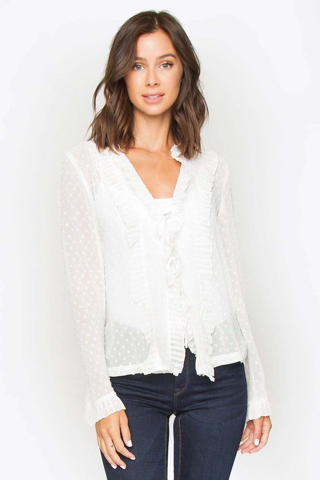 Sugarlips Blouse Loyal Hearts L/SLv w/ Open Front Ties & Ruffle Detail