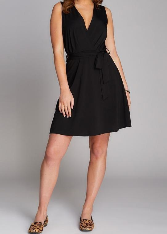 C'est Moi Dress Slv/lss V Neck W/ Tie