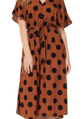 DEX Dex Dress Polka Dot Maxi w/ Tie