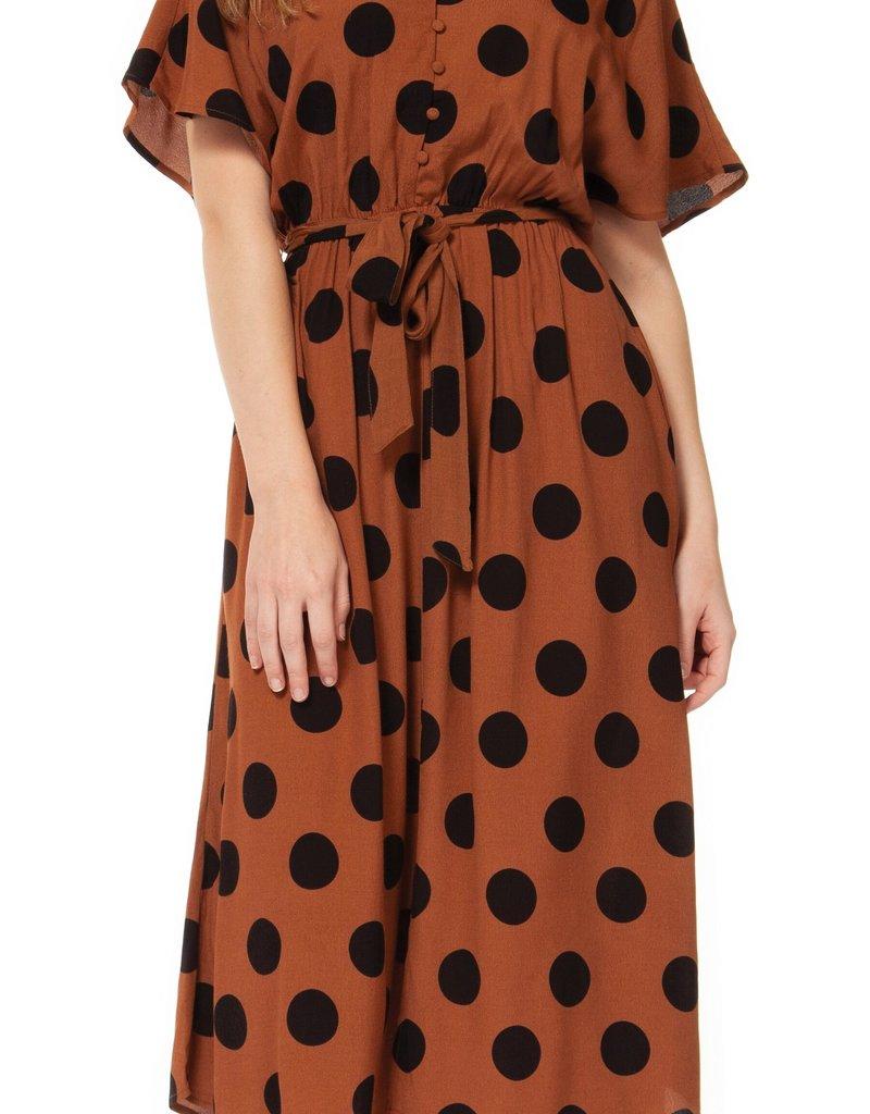 DEX Dex Dress Polka Dot Maxi w/ Tie