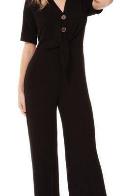 DEX Dex Jumpsuit S/Slv Button Front w/ Tie