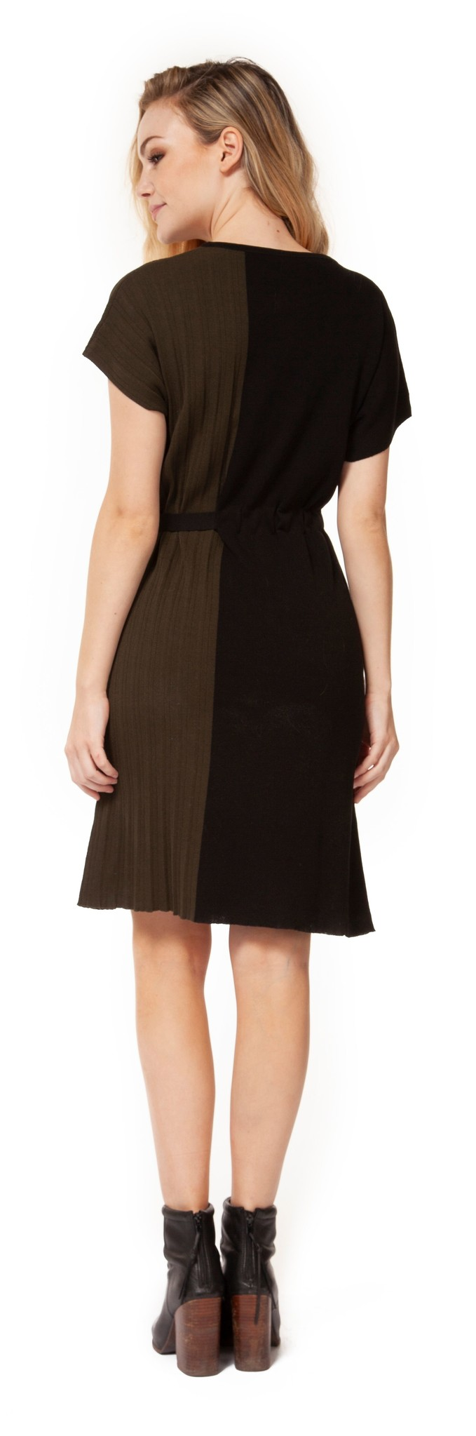 Dex Dress S/Slv Crew Neck w/ Waist Tie