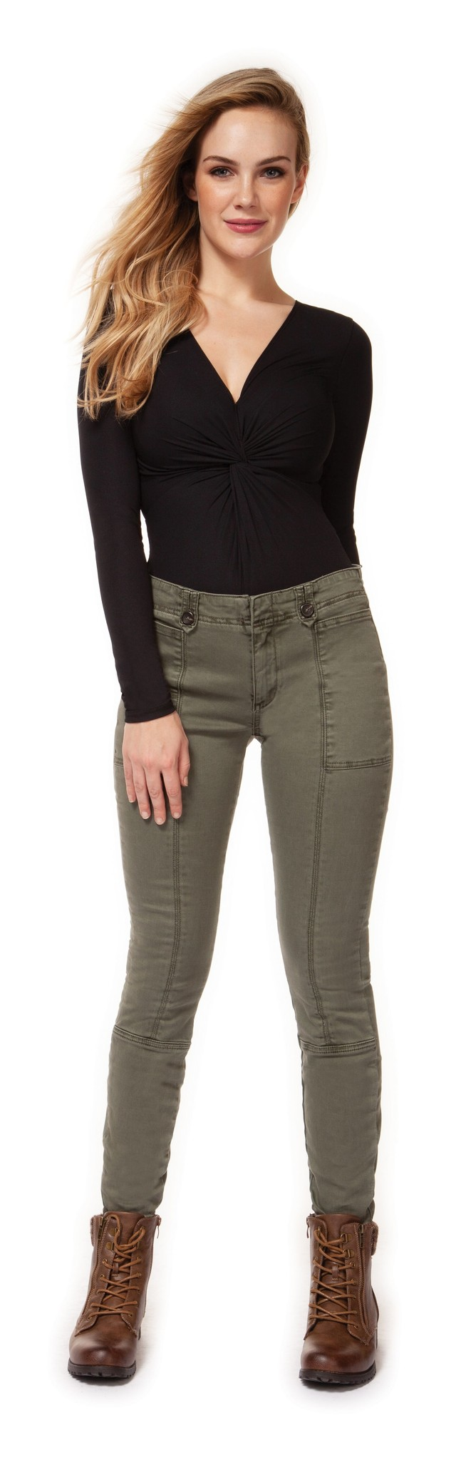 Dex Pant Mid Rise w/ Front Seam & Buttoned Tabs