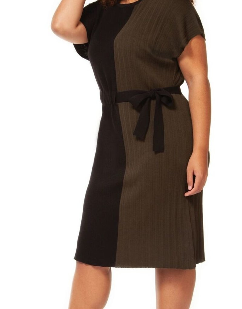 DEX Dex Plus Dress S/Slv Crewneck w/ Waist Tie