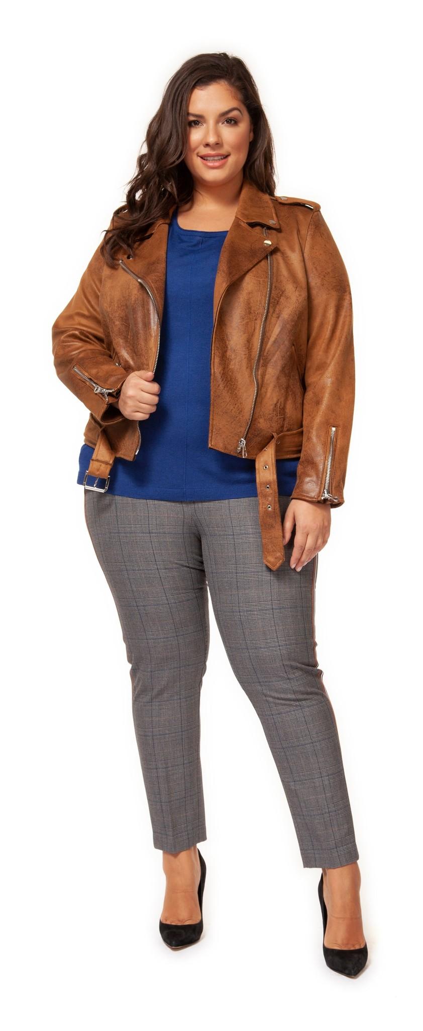 Dex Plus Biker Jacket w/ Zipper Pockets & Belt