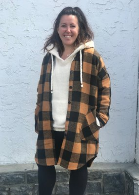 RD INTERNATIONAL Rd Int'l Plaid Collared Woven Button Down Coat