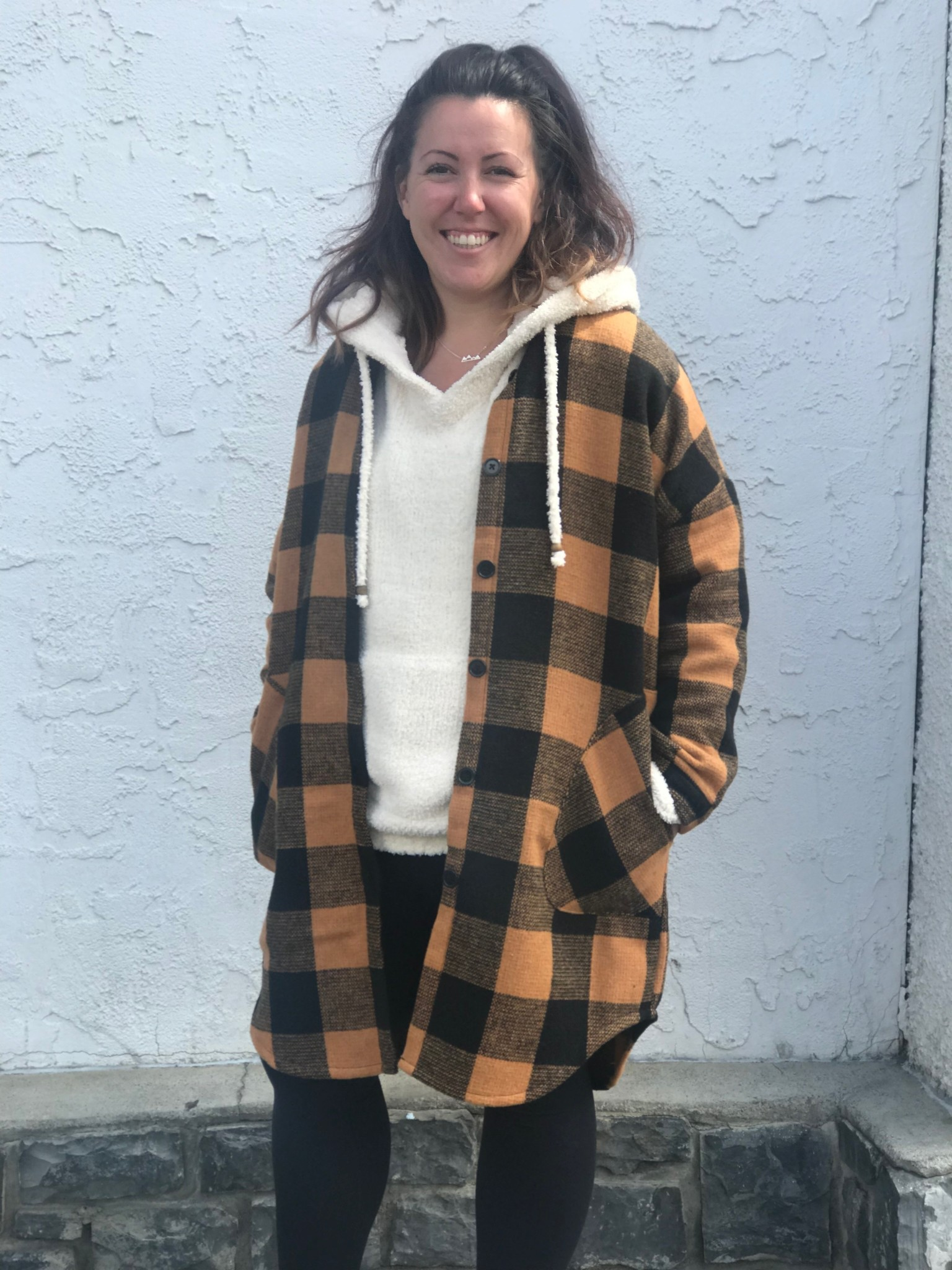 Rd Int'l Plaid Collared Woven Button Down Coat