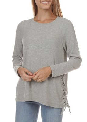 Jack JACK Laces Out Top L/Slv Crew Neck Side Lace-Down Tie