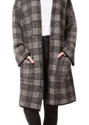 DEX Dex Cardigan Longline Open L/Slv w/ Pockets Plaid
