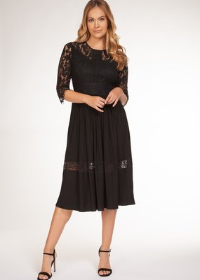 DEX Dex Dress Pleated & Lace 3/4 Slv w/ Round Neck
