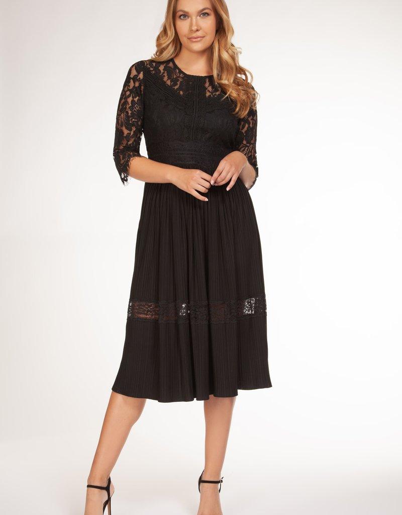DEX Dex Dress Pleated & Lace 3/4 Slv w/ Round Neck