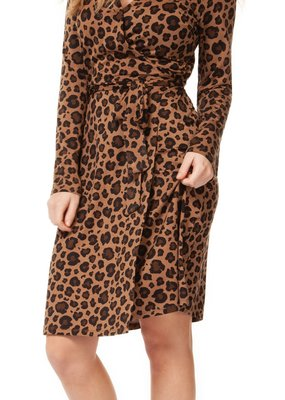 DEX Dex Faux Wrap Dress L/Slv Midi w/ Waist Tie