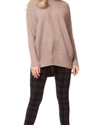 DEX Dex L/Slv Drop Shoulder Sweater Boxy Turtleneck w/ Ribbed Detail