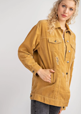 Easel Easel Distressed Oversized Corduroy Jacket