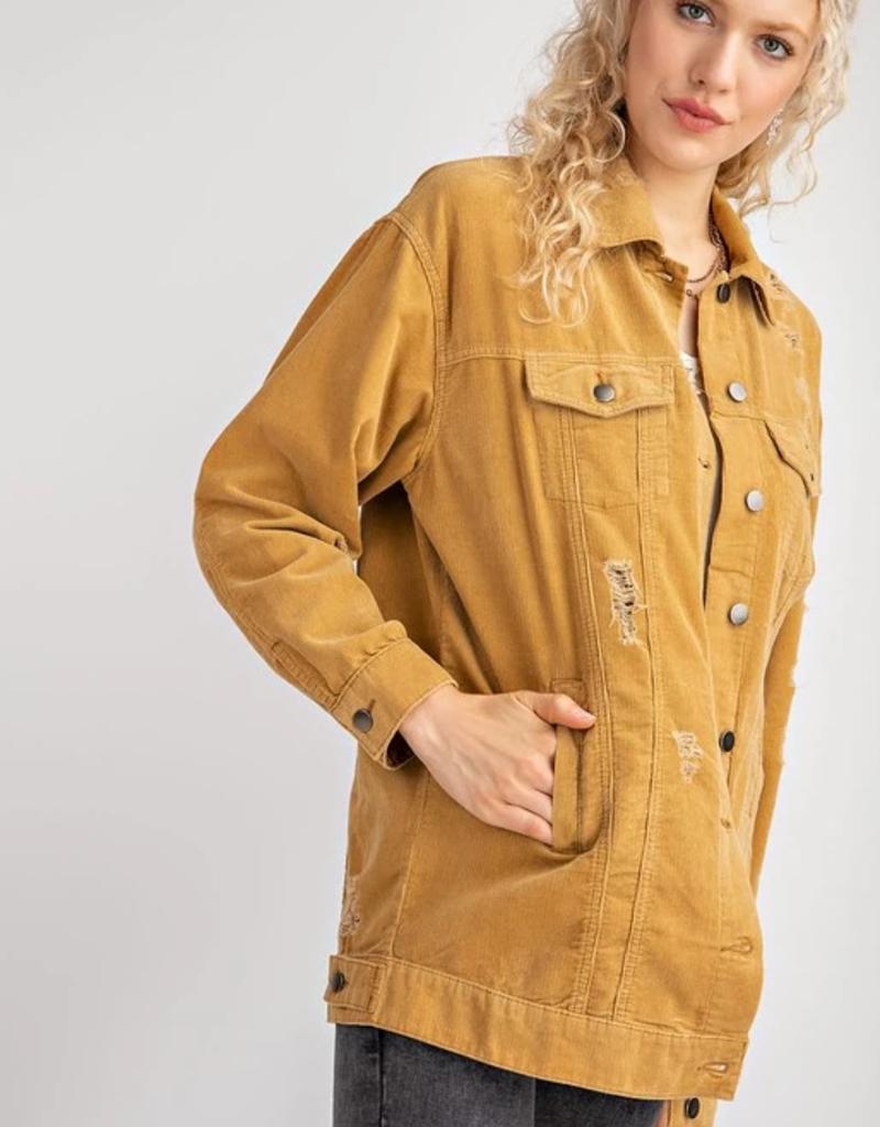 Easel Easel Distressed Oversized Corduroy Jacket