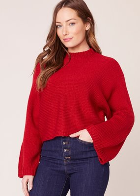 Jack JACK Sweater Cropped Mock Neck w/ Bell Sleeves