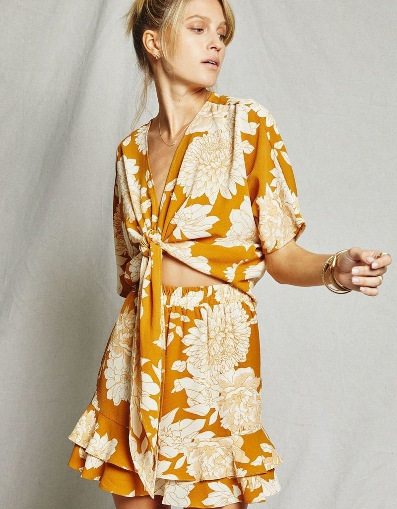 Sage The Label Sage The Label On The Sunset Tie-Front Floral Top