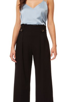Black Tape Black Tape Palazzo Pants Pleated w/ Button Tab Waist Detail