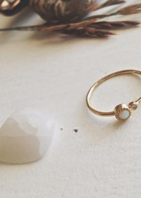 PIKA&BEAR Pika & Bear Ring 'Cressida' Gold Vermeil Opal W/ Rhinestone Satellite