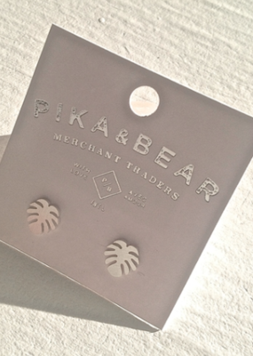 PIKA&BEAR Pika & Bear Earrings 'Monstera' Leaf Studs