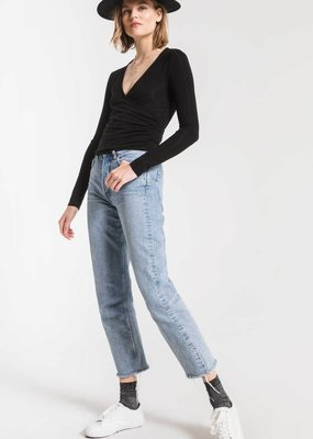 ZSUPPLY Z Supply The Micro Rib Wrap Crop L/S Top