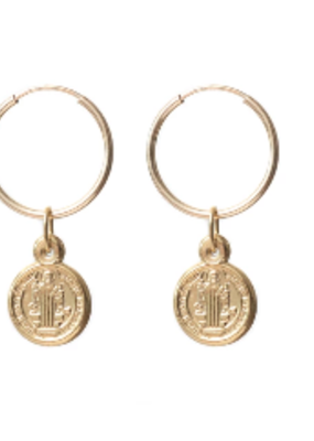 Lisbeth Roma Earrings 16mm Hoops W/ Coin