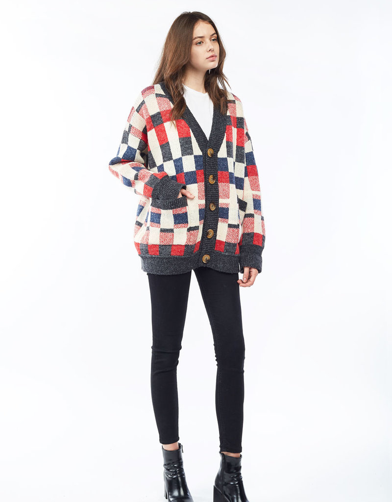 Look by M Look by M Multicoloured Chess Cardigan