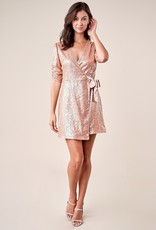 SUGARLIPS Sugarlips Got The Moves Dress S/slv  Short Sequin Wrap Dress