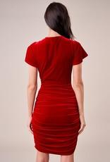 SUGARLIPS Sugarlips Daphne Dress S/Slv Velvet Sheath w/ Half-Bow Waist Detail