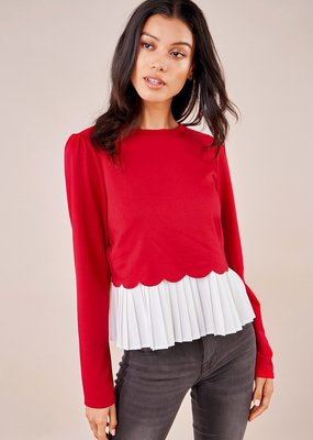 SUGARLIPS Sugarlips Gotta Have It Top L/Slv Crew Neck w/ White Ruffle Detail
