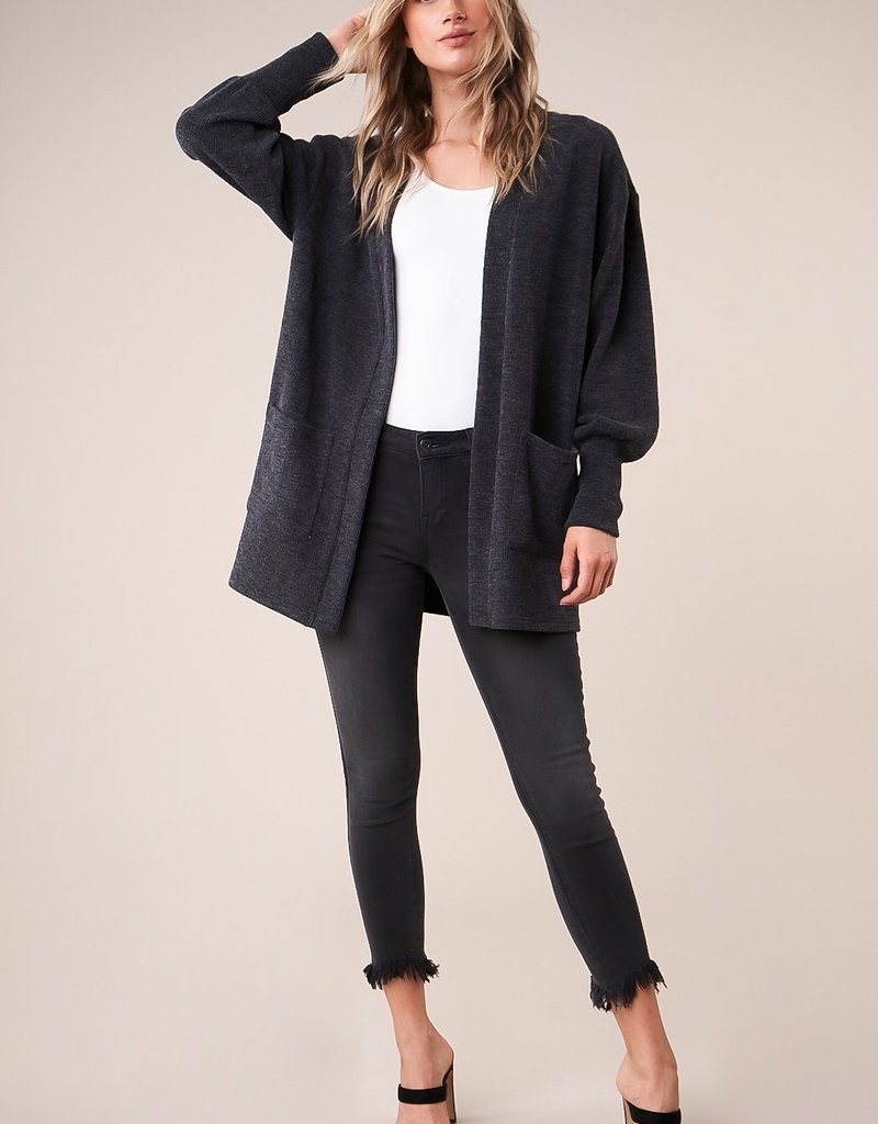 SUGARLIPS Sugarlips Central Perk Cardi Oversized Ribbed Open w/ Pockets