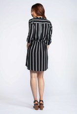 DEX Dex Dress 3/4 Slv Shirt Dress Vertical Stripe